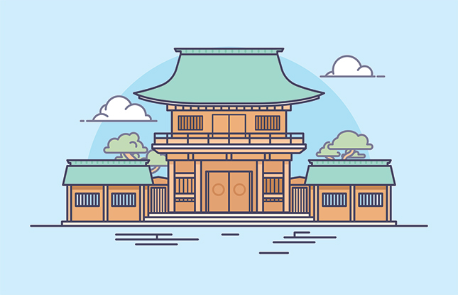 japanese shrine cartoon