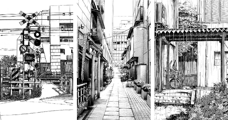 Japanese sketch drawing of city