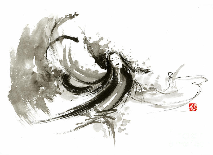 Japanese ink painting of geisha dancer