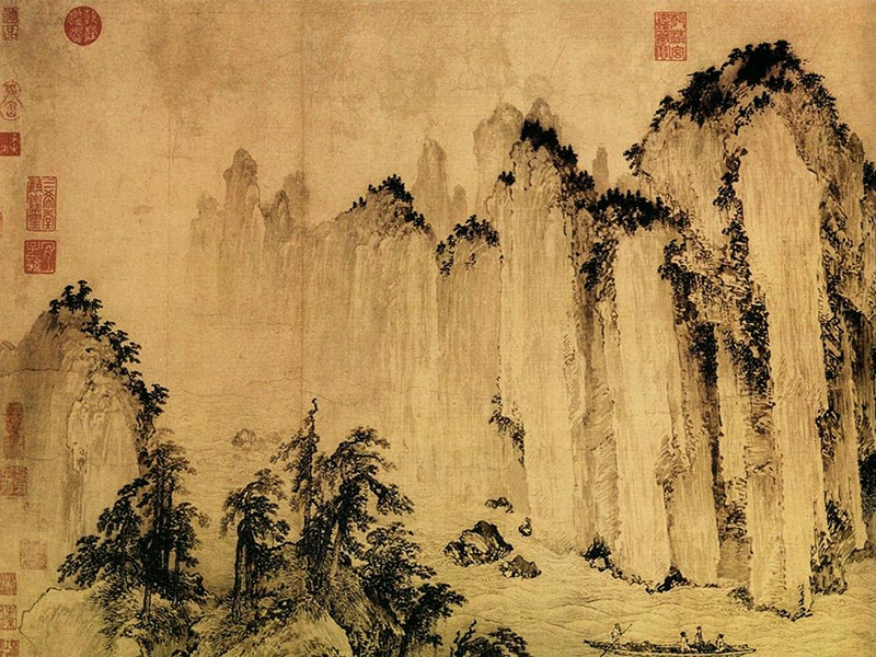 Japanese mountain painting artwork