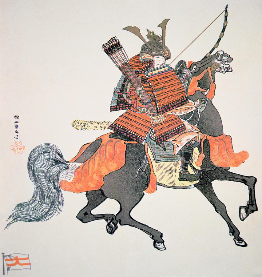 Japanese painting of samurai