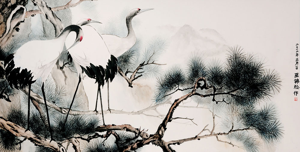 Japanese watercolor painting of crane